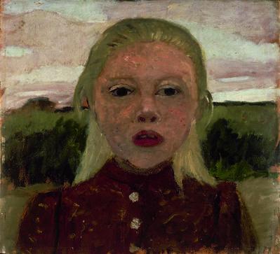 Paula Modersohn-Becker, 'Kopf eines blonden Mädchens vor Landschaft (Head of a Blonde Girl in front of a Landscape)', 1901