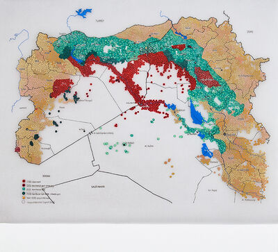 Tiffany Chung, 'Global Coalition – mapping a conflict without border: areas of influence in Syria and Iraq', 2017
