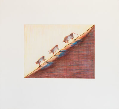 Wayne Thiebaud, 'Three Cows', 1991