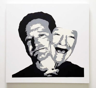 "Plastic Jesus, ' ""Robin Williams behind the Mask"" - stenciled acrylic spray on cotton canvas', 2017"
