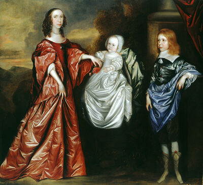 Attributed to Joan Carlile, 'Anne (d.1689), Philadelphia (1655 - 1722) and their brother Thomas Wharton (1648 - 1715), later 5th Lord Wharton', ca. 1656