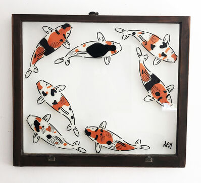 "Jeremy Novy, '""7 Koi - "" Spray paint on found glass in brown window wood frame', 2021"