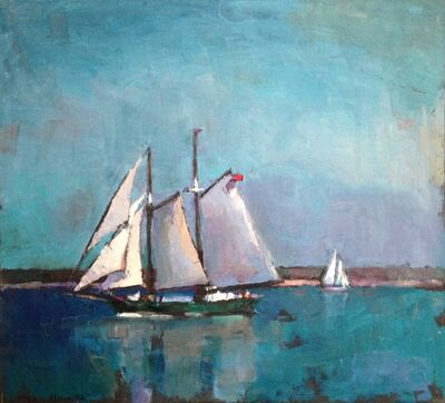 "Larry Horowitz, '""Passing Schooners"" oil painting of sailboats with teal water and sky', 2019"