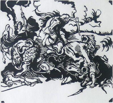 Franz Marc, 'Löwenjagd nach Delacroix', 1913