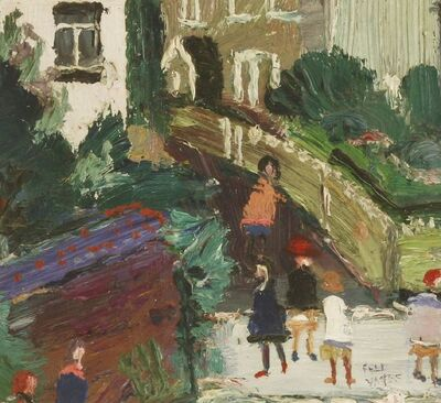 Fred Yates, 'FIGURES OUTSIDE A HOUSE'