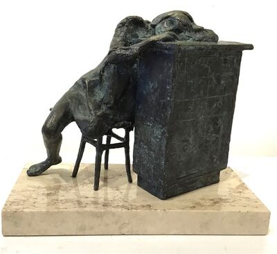 "Stanley Bleifeld, '""Day Dreaming"" bronze sculpture of a girl resting on a bureau', 1969"