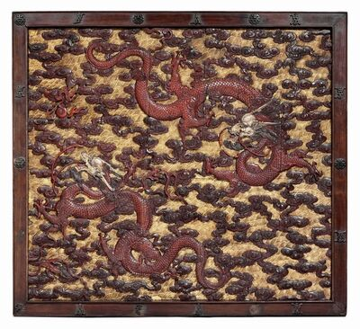 Unknown Chinese, 'A pair of imperial carved wood, polychrome and gilt-lacquered 'dragon' panels', Qing dynasty, Kangxi/Yongzheng period, 18th century
