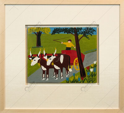Maud Lewis, 'Oxcart In Spring - Bright, colourful, Canadian, oil paint, outsider, folk art', 1962