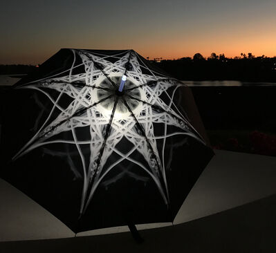 Elizabeth Turk, 'Shoreline Project: X-Ray Mandala Umbrella (white against black)', 2018
