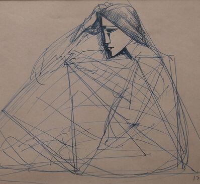 Somnath Hore, 'Musings, pen-ink, figurative drawing, famous Bengal School Artist Somenath Hore', 1972