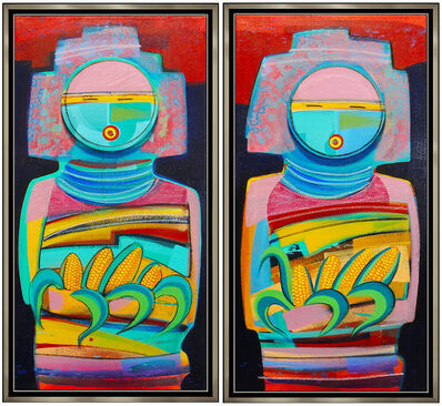 Tony Abeyta, 'Tony Abeyta 2 Large Original Acrylic Painting On Canvas Signed Kachina Artwork', 20th Century