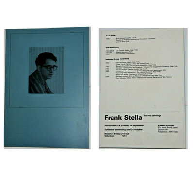 "Frank Stella, '""Recent Paintings"", Exhibition Invite/Mailer, Kasmin Limited Gallery London', 1964"