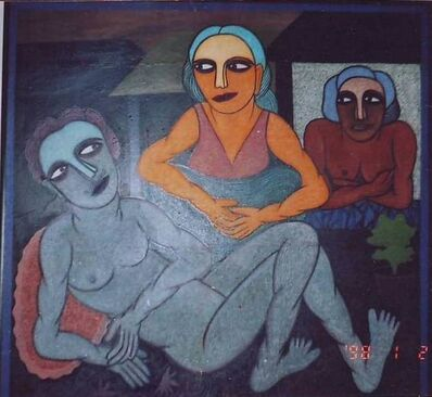 """S. K. Sahajahan, 'Two Man & Woman, Mixed Media Painting, Grey, Brown, Red, Blue colors by Indian Artist """"In Stock""""'"""
