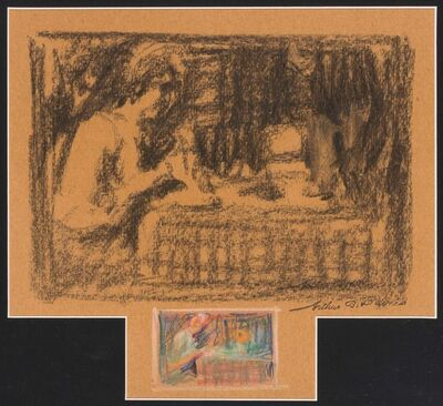 Arthur Bowen Davies, 'Two Variations on the Theme of Woman at Table', circa 1900