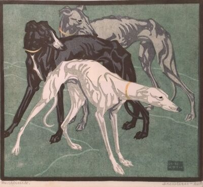 Norbertine Bresslern-Roth, 'Windhunde (Greyhounds) ', 1925