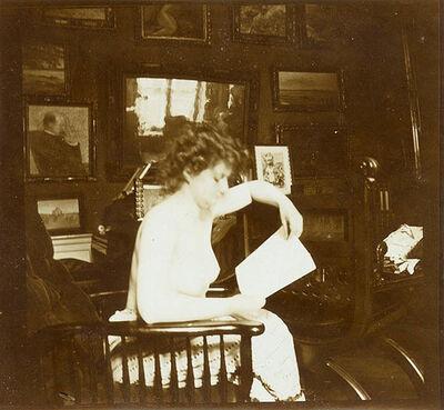 Auguste Pierre Delbet, 'Female Nude Study in the Studio (Sitting)', ca. 1890