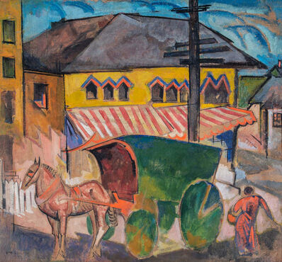 William Sommer, 'Horse and Covered Cart in Town', ca. 1918-19