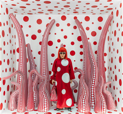 """Yayoi Kusama, 'Installation view of Kusama in Infinity Mirror Room - Phalli's Field, at her solo exhibition """"Floor Show"""" at R. Castellane Gallery, New York', 1965"""