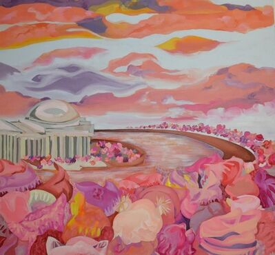 Liz Ashe, 'Women's March, Blossoms on the Tidal Basin', 2017