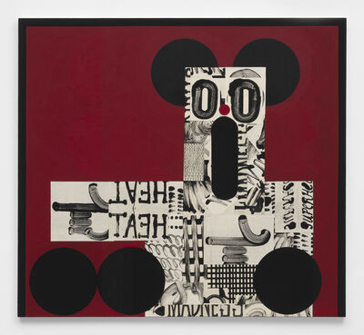 David Korty, 'Figure pointing left on red with black ears', 2019