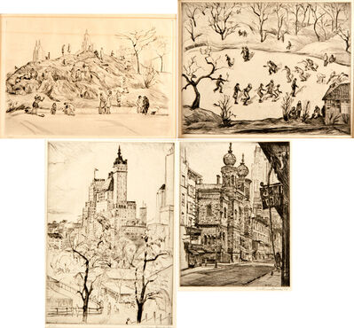 Mortimer Borne, 'The Anthill, Central Park, 1931, Skaters, Central Park, 1938, Plaza Towers, 1930 and Central Synagogue, Lex. Ave., 1938'