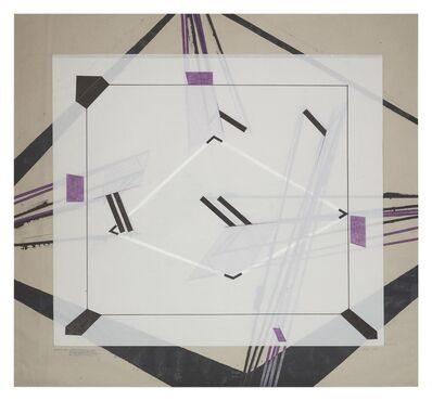 Barry Le Va, 'Installation Study - Corner Sections (of One 4-Sided Boundary) Separately Projected (and Partially Blocked and Omitted) From Four Positions of Viewing #8', 1978