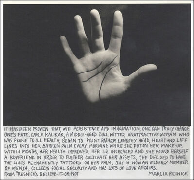 Marcia Resnick, 'Head, Heart and Life Lines', 1979