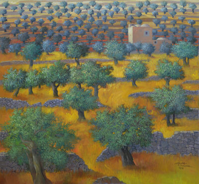 Sliman Mansour, 'Landscape with Olive Trees', 2018