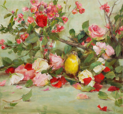 Kathy Anderson, 'Warbler with Roses and Quince', 2020