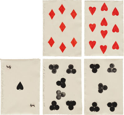 Donald Sultan, 'Seven Diamonds March 17 1989; Ten Hearts March 23 1989; Jack of Spades April 11 1989; Six Clubs March 14; and Five Clubs March 13', 1989