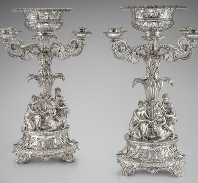 Paul Storr, 'A Magnificent Pair of George IV Four Light Candelabrum Centrepieces', 1822