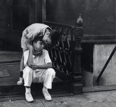 Helen Levitt, 'N.Y.C. (one boy consoling another)', ca. 1942