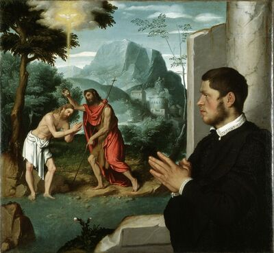 Giovanni Battista Moroni, 'A Gentleman in Adoration before the Baptism of Christ', 1555-1560