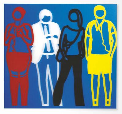 Julian Opie, 'Standing People (Red, White, Black Yellow)', 2019