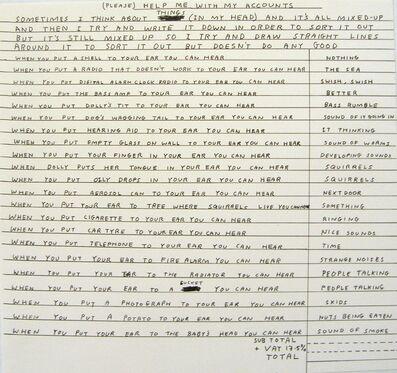 David Shrigley, 'Help me with my accounts', 1998
