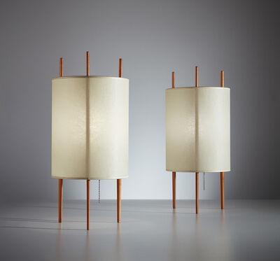 "Isamu Noguchi, 'Pair of ""Three-Legged Cylinder"" table lamps, model no. 9', designed 1944, manufactured 1947, 1954"