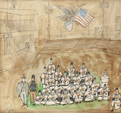 Saul Steinberg, 'The Milwaukee Braves (from the Steinberg at the Bat series)', 1954