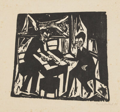 Erich Heckel, 'Two Men at a Table', 1913