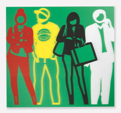 Julian Opie, 'Standing People (Red, Yellow, Black, White)', 2019