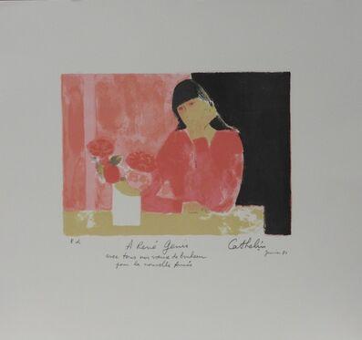 Bernard Cathelin, 'Claudine au bouquet d'hortensias', 1980
