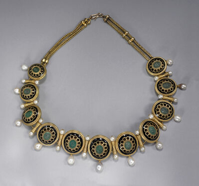 Fortunato Pio Castellani & Sons, 'Necklace with cameos of theatrical masks', ca. 1880-1900