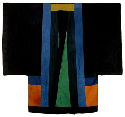 Chant Avedissian, 'Siwa inspired coat, black cotton with hand-dyed colour parts', 1988