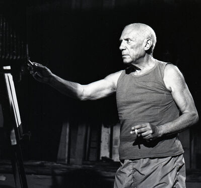 André Villers, 'Picasso during Le Mystere Picasso, Nice', ca. 1955