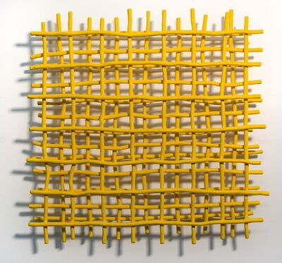 Shayne Dark, 'Gridlock Yellow - A layered grid of intersecting bent aluminum in primary yellow', 2020