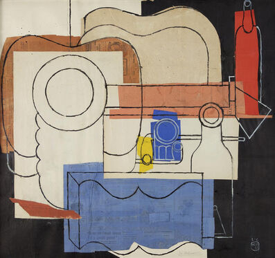 Le Corbusier, 'Still Life with guitar, pile of plates, an open book, pipes, bottles and glasses', 1961