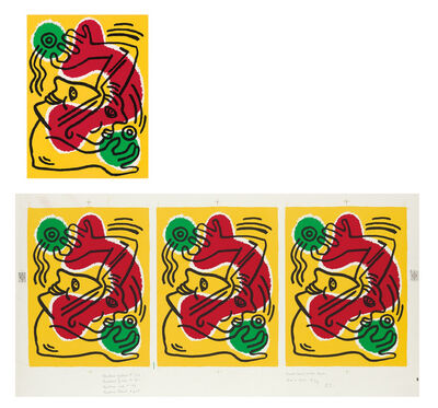 "Keith Haring, 'TWO PIECE SET-  Artist's Proofs-""International Volunteer Day"", Color Lithograph & 3-Image Proof Sheet (uncut), RARE', 1988"