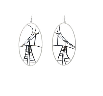 Caitie Sellers, 'Large Oval Train Track Earrings'