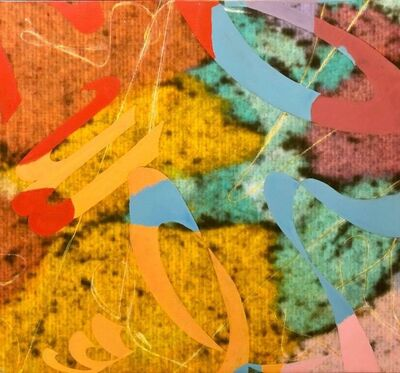 Dorothy Gillespie, 'Colorful SYMBOLS & SOUNDS Abstract Expressionist Mixed Media Painting', 2000-2009