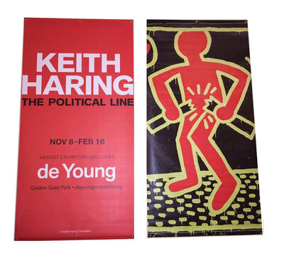 "Keith Haring, '""The Political Line"", Exhibition Banner (unused), 2.5 x 6 ft. The de Young Museum of San Francisco, Double-Sided. ', 2015"