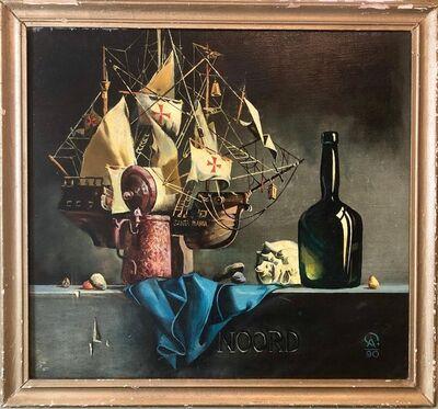 Anton Kandisnky, 'Russian-Ukrainian Oil Painting of Model Ship Santa Maria Still Life with Bottle', 1990-1999